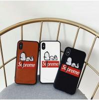 シュプリーム スヌーピー iphone8/8plus アイフォンX ケース カード入れ 背面 supreme iphone 7/7plus 6s/6s plus 6/6 plus カバー 限定 刺繍
