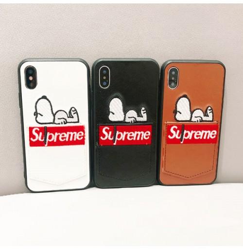 シュプリーム スヌーピー iphone8/8plus アイフォンX/XS ケース カード入れ 背面 supreme iphone 7/7plus 6s/6s plus 6/6 plus カバー 限定 刺繍