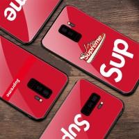シュプリーム iphone X カバー 背面強化ガラス supreme galaxy s9/s9plus ギャラクシー s8/s8plus ケース シュプリーム アイフォン 8/7/6s/6 プラス カバー