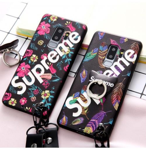 シュプリーム iphone X ケース バンカーリングつき シュプリーム galaxy note8 ケース supreme アイフォンiphone8/7/6s/6 plus カバー シュプリーム ギャラクシー s9/s9 プラス ケース ストラップ付き レディース 落下防止