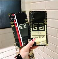 フェンデイ iphone8ケース トランク作り FENDI アイフォンX カバー 鏡 フェンディ iphone7/6s/6 plus   携帯ケース Huawei P20 Pro ストラップ付き 芸能人愛用