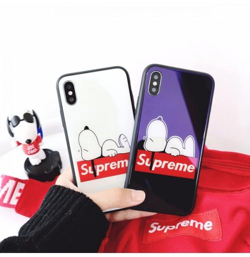シュプリーム スヌーピー iphone8プラス 強化ガラスケース supreme アイフォンX ケース iphone 7/7plus   6s/6s plus 6/6 plus ガラスカバー