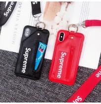 シュプリーム iphone X iphone8/7/6s/6 プラス 背面ケース カード収納 ブランドコピー supreme レザー  huawei p10/p10 plusケース 財布付き