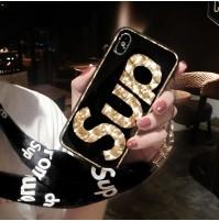 シュプリーム iphone X カバー ストラップつき supreme ブランド アイフォン8/7/6s/6 キラキラケース