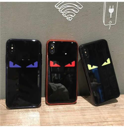 FENDI iPhoneX/XS/XS MAX ケース 背面ガラス フェンディ アイフォン8/8プラスケース パロディー アイホン7/6S/6カバー