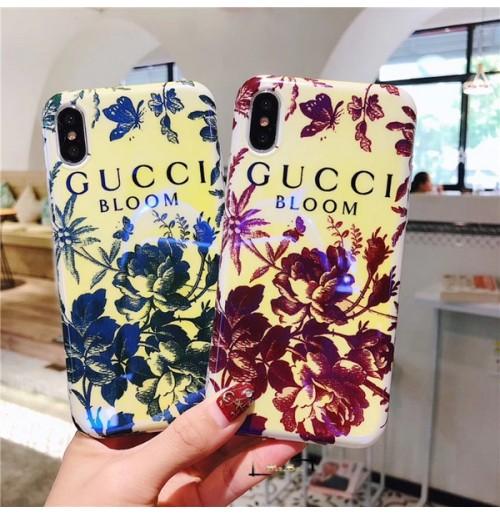 大人女性愛用Gucci iphone X背面ケース グッチ アイフォンX携帯カバー iphone8/7/6S/6plusケース フラワー