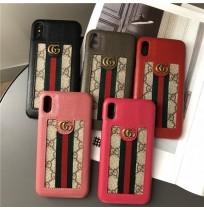 グッチ iphone XS/X XR/XS MAX 背面カバー レザー アイフォン8/8プラス アイホン7/6S/6plusカバー