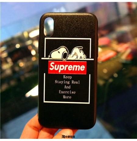 supreme スヌーピー コラボ iphone XS/XS MAXカバー XR/X シュプリーム Snoopy アイフォン8/8プラス iphone7/6s/6 plus  ケース
