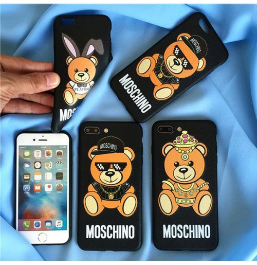 モスキーノ iPhone X/XS/XS MAX/XRケース MOSCHINO モスキーノ テディベア iPhone6/6s/7/8 PLUSカバー レディース