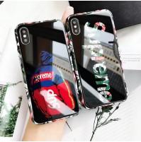 ストリートブランド シュプリーム iphone XS/XS MAX XRガラスカバー パロディ ステューシー アイフォン8/8プラスケース Aape iphone7/6s/6 plusカバー