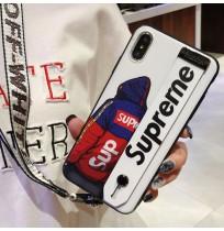 シュプリーム風 iPhoneXS/XS MAXカバー アイフォンxr/xベルトつきケース アイホン8/7/6S/6plus携帯カバー 取っ手つき ストラップつき パロディ