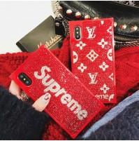 supreme iphoneXS/XS MAXケース XR スワロフスキー風 ブランド iphone8/8PLUS キラキラ デコケース ア  イフォン7/6S/6プラス対応