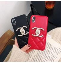 CHANEL iphoneXR/XS/XS MAXカバー シャネル風 アイフォン8/7/6S/6plus背面カード収納ケース 背面ポケット付き レディース向け