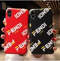 フェンディ フィラコラボ iphoneXR/XS/XS MAXレザーカバー パロディ FENDI FILA iphone8/8plus アイフォン7/6s/6プラス背面ケース おしゃれ