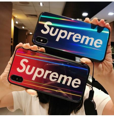 シュプリーム iphoneXS/XSMAX/XR背面ガラスカバー ブランド アイフォン8/7/6S/6PLUSケース ブルーレイ 光沢