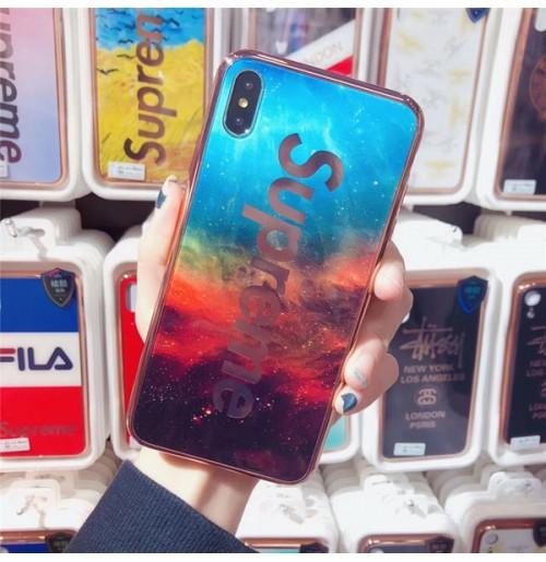 ブランド シュプリーム iphoneXSMAX ステューシー iphoneXS/X強化ガラスケース FILAアイフォン8/8/plusケース championアイホン7/6s/6プラス保護カバー おしゃれ