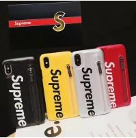 シュプリームiphoneXS/XSMAX/XRケース 背面ポケット ブランド アイフォン8/7/6S/6PLUS ファスナーケース付き スマホケース 便利