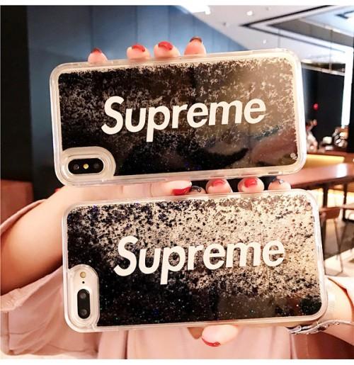 シュプリームiPhone XR XS XSMAXケース クリア アイフォン8/7/6S/6plusキラキラ液体ケース