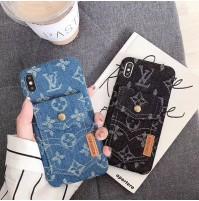 LV iphoneケース XSMAX/XS/XR/X デニム モノグラム アイフォン8/7/6S/6プラス対応カバー 背面ポケット