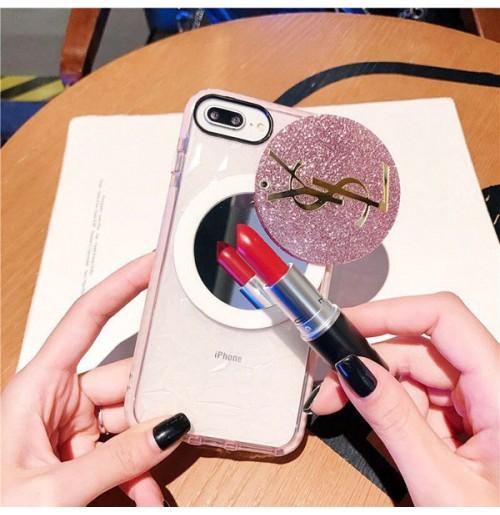 YSLグリッターミラー付きアイフォンXS/XSMAX/XRケース サンローラン iPhone8/7/6s/6プラスカバー キュート 人気