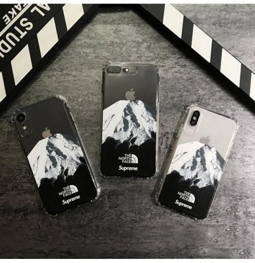 THE NORTH FACE supreme アイフォンケース XS XSMAX XR 富士山 シュプリーム×ノースフェイス iphone8/7/6s/6plus透明ケース