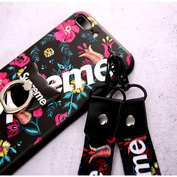 supreme アイフォン8プラス カバー 花 刺繍