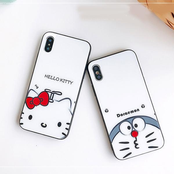 b8e1f8506f3209 ドラえもん Doraemon iphone XS/XS MAX ガラスカバー ハローキティ iphone XR/X アイフォン8/8プラスケース  Hello Kitty iphone7/6s/6 plus背面カバー